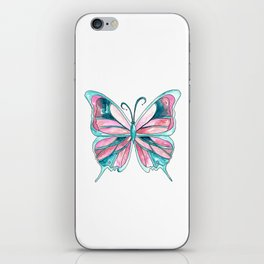 Pink and Blue Watercolor Butterfly iPhone Skin