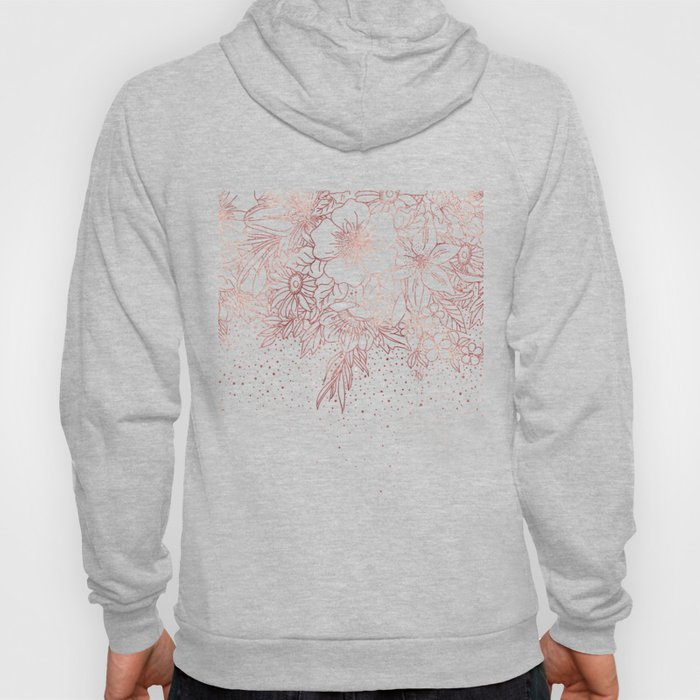 Rose gold hand drawn floral doodles and confetti design Hoody
