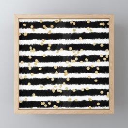 Modern black watercolor stripes chic gold confetti Framed Mini Art Print