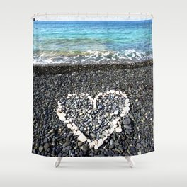 Watercolor Beach Heart Shower Curtain