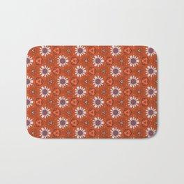 White Daisies Pattern, Orange Pattern Bath Mat