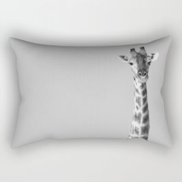 Giraffe Black And White Photography Rectangular Pillow