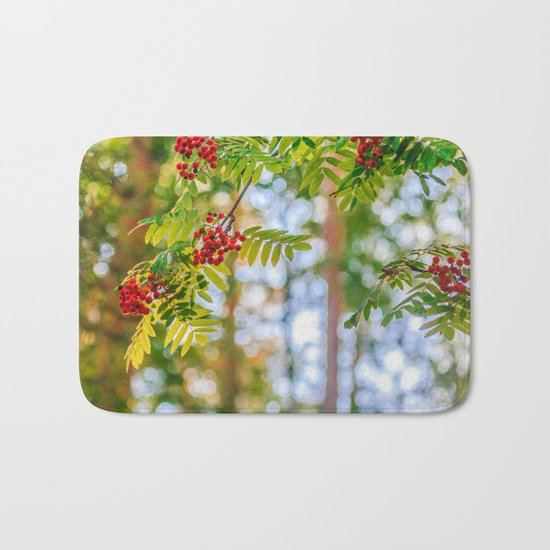 Bunches of rowan berries Bath Mat