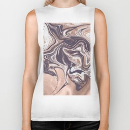 Liquid Rose Gold Violet and Marble Biker Tank