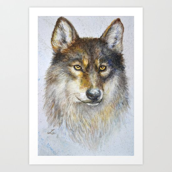 Watercolor wolf Art Print