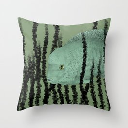 Under water Funky Fish Throw Pillow