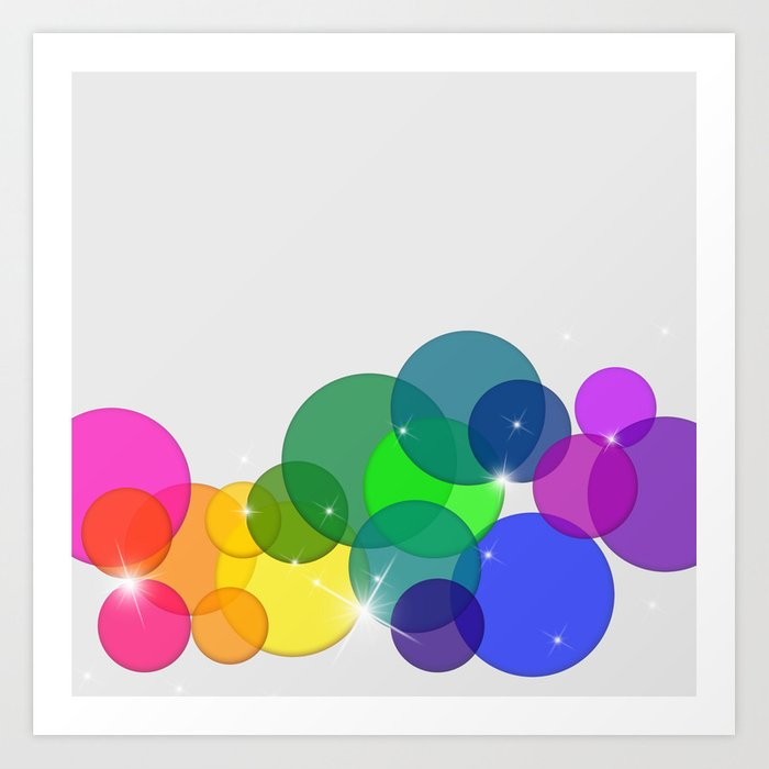 Translucent Rainbow Colored Circles with Sparkles - Multi Colored Art Print