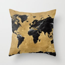 world map marble gold 2 Throw Pillow