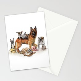 """Coffee Dogs"" funny coffee and dog artwork Stationery Cards"