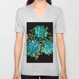 Beautiful Autumn Plant green, blue Unisex V-Neck