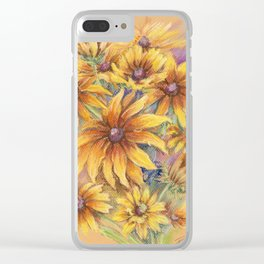 Rudbeckia Bouquet of yellow autumn flowers Floral pastel drawing Still life Clear iPhone Case