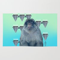 ape Area & Throw Rugs featuring Barbary Ape by QUEQZZ