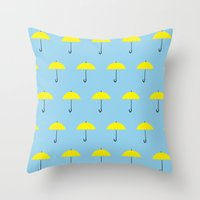 himym Throw Pillows featuring HIMYM Yellow Umbrella by tralalavelling