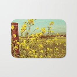 Spring Breeze (Mustard Plants and Cottage) Bath Mat