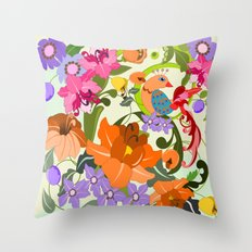 Damask Flowers, Leaves and Tropical Bird pillow Throw Pillow