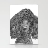 poodle Stationery Cards featuring Poodle - black by Doggyshop
