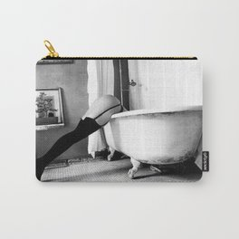 Head Over Heals - Female in Stockings in Vintage Parisian Bathtub black and white photography - photographs wall decor Carry-All Pouch