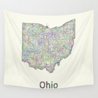 ohio Wall Tapestries featuring Ohio map by David Zydd