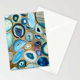 Blue Sea Agates on gold Stationery Cards