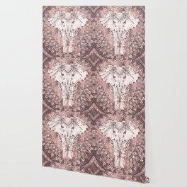 Bohemian, Elephant, Mandala, Blush, Moon Wallpaper
