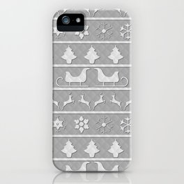Christmas Silver & White Nordic Knit Ugly Christmas Sweater iPhone Case
