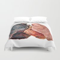 lungs Duvet Covers featuring Smoker's Lungs by Katie Bennett