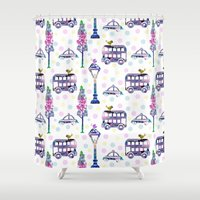 water colour Shower Curtains featuring vintage water colour pattern by mimi betz