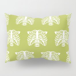 Human Rib Cage Pattern Chartreuse Green Pillow Sham