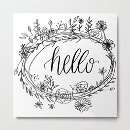 Hello Floral Metal Print