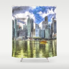 Singapore Marina Bay Sands Art Shower Curtain
