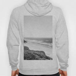 Beach Horizon | Black and White Color Sky Ocean Water Waves Coastal Landscape Photograph Hoody