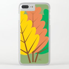 Fallen leaves autumn theme Clear iPhone Case