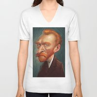van V-neck T-shirts featuring van  by helpius