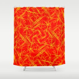 Bright yellow smooth curved lines on a red background for a festive summer and fiery mood. Shower Curtain