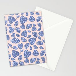 Variegated Monstera in pastel blue Stationery Cards