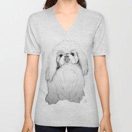 Cartoon Pekingese Dog Unisex V-Neck