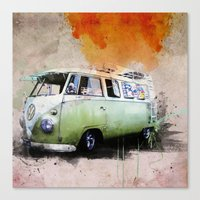 volkswagen Canvas Prints featuring vintage volkswagen by d.ts