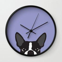 Boston Terrier Violet Wall Clock