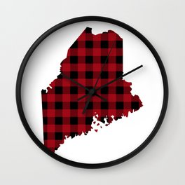 Maine - Buffalo Plaid Wall Clock
