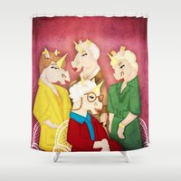 unicorns Shower Curtains featuring Golden Unicorns by That's So Unicorny