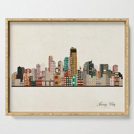 jersey city skyline Serving Tray