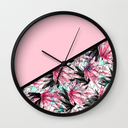 Blush Pink and Teal Abstract Tropical Leaves Wall Clock