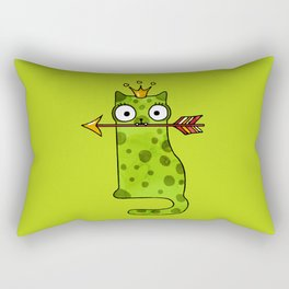 Green princess frog cat from a fairy tale is waiting for love Rectangular Pillow