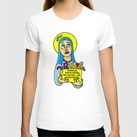les mis T-shirts featuring Corrige, Santa María, mis faltas... de ortografía by Mis Santitos
