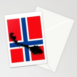 Norwegian Flag with Map of Norway Stationery Cards