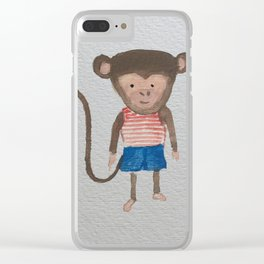 Monkey Jungle Friends Baby Animal Water Color Clear iPhone Case