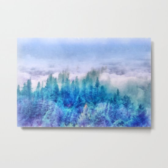 Clouds over pine forest Metal Print