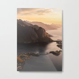 Sunrise and Mountains, Lofoten Islands Norway.  Metal Print