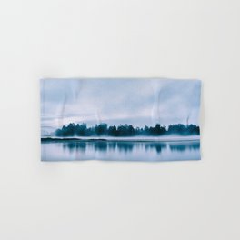 Peaceful blue morning in the crystal clear waters of the river Hand & Bath Towel