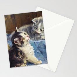 12,000pixel-500dpi - Three Kittens On Blue Blanket - Julius Anton Adam Stationery Cards